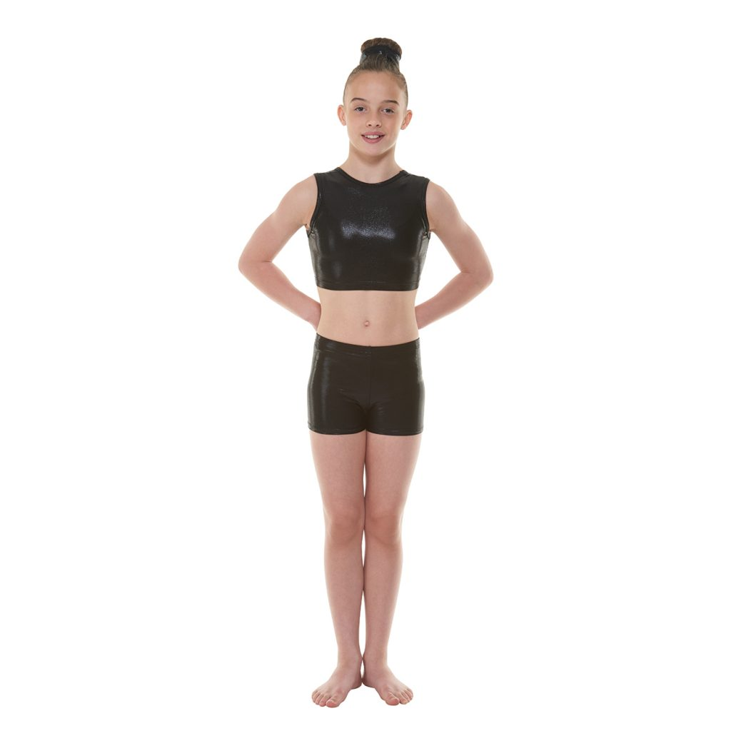 Ebony Shine Crop and Ebony Shine Hipster Micro Shorts Tappers and pointers