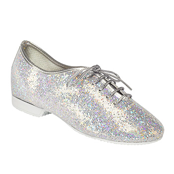 Rubber Soled Jazz Shoe- Silver Hologram Upper Tappers and Pointers