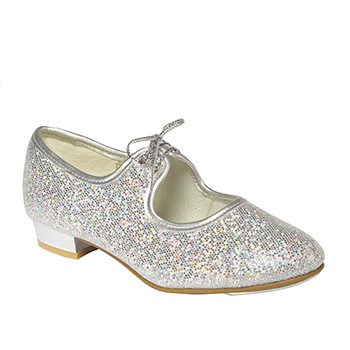 Silver Hologram Low Heel Tap Shoes Tappers and Pointers