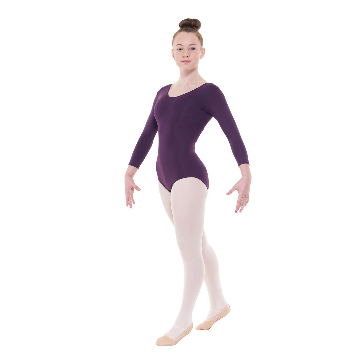 Meryl-34-Length-Sleeved-Leotard-With-A-Plain-Front-by-Tappers-and-Pointers