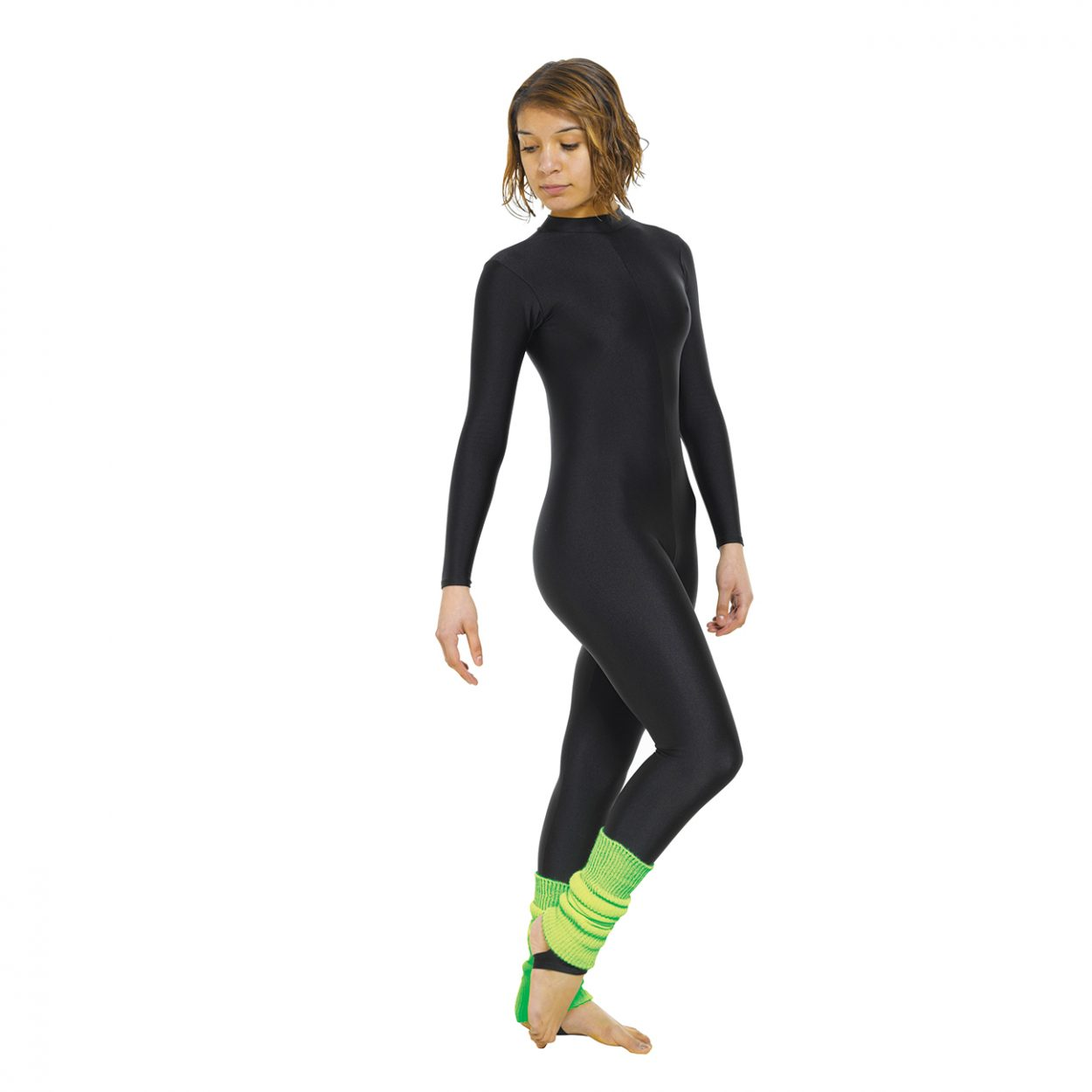 Long-Sleeved-Turtle-Neck-Catsuit-With-Stirrup Tappers and Pointers