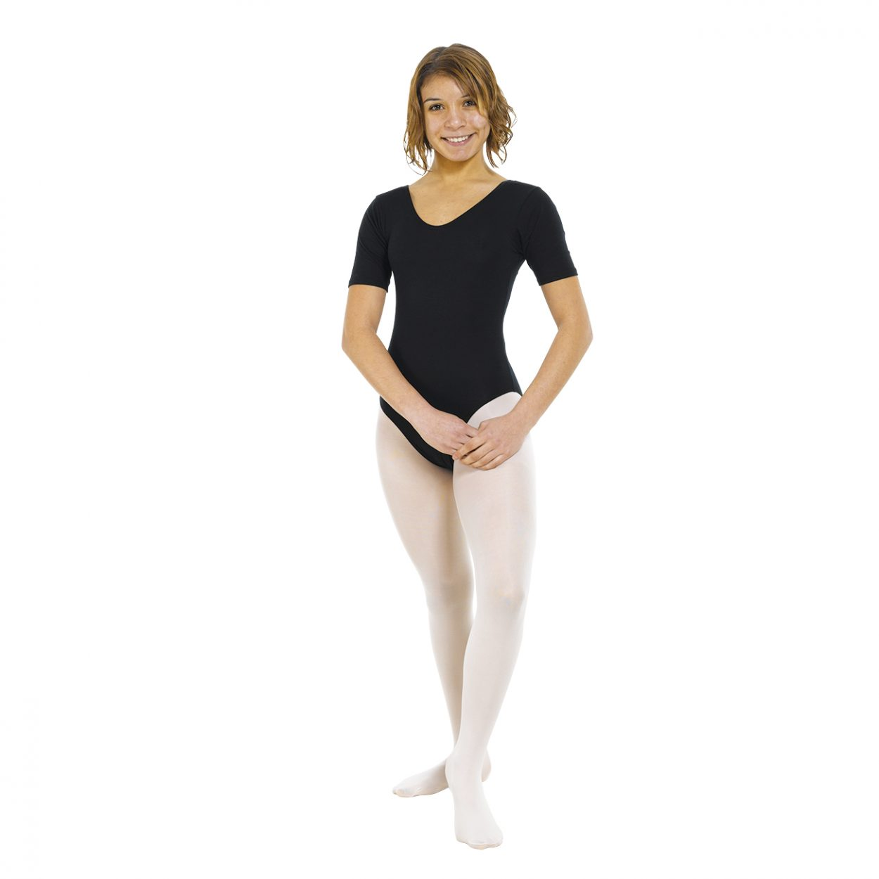 Short-Sleeve-Leotard-Plain-Front Tappers and Pointers