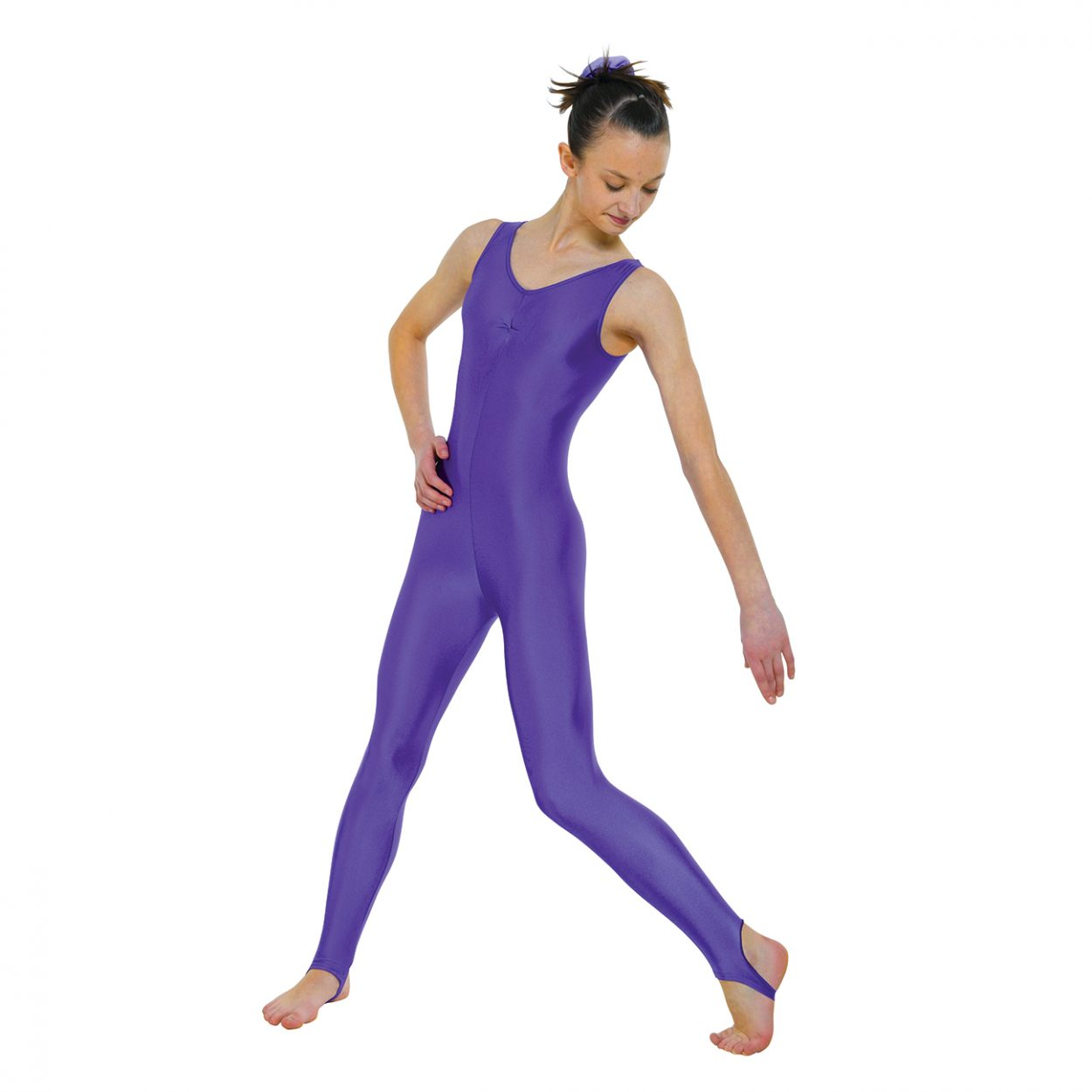 Sleeveless-Catsuit-Ruched-Front-With-Stirrup Tappers and Pointers