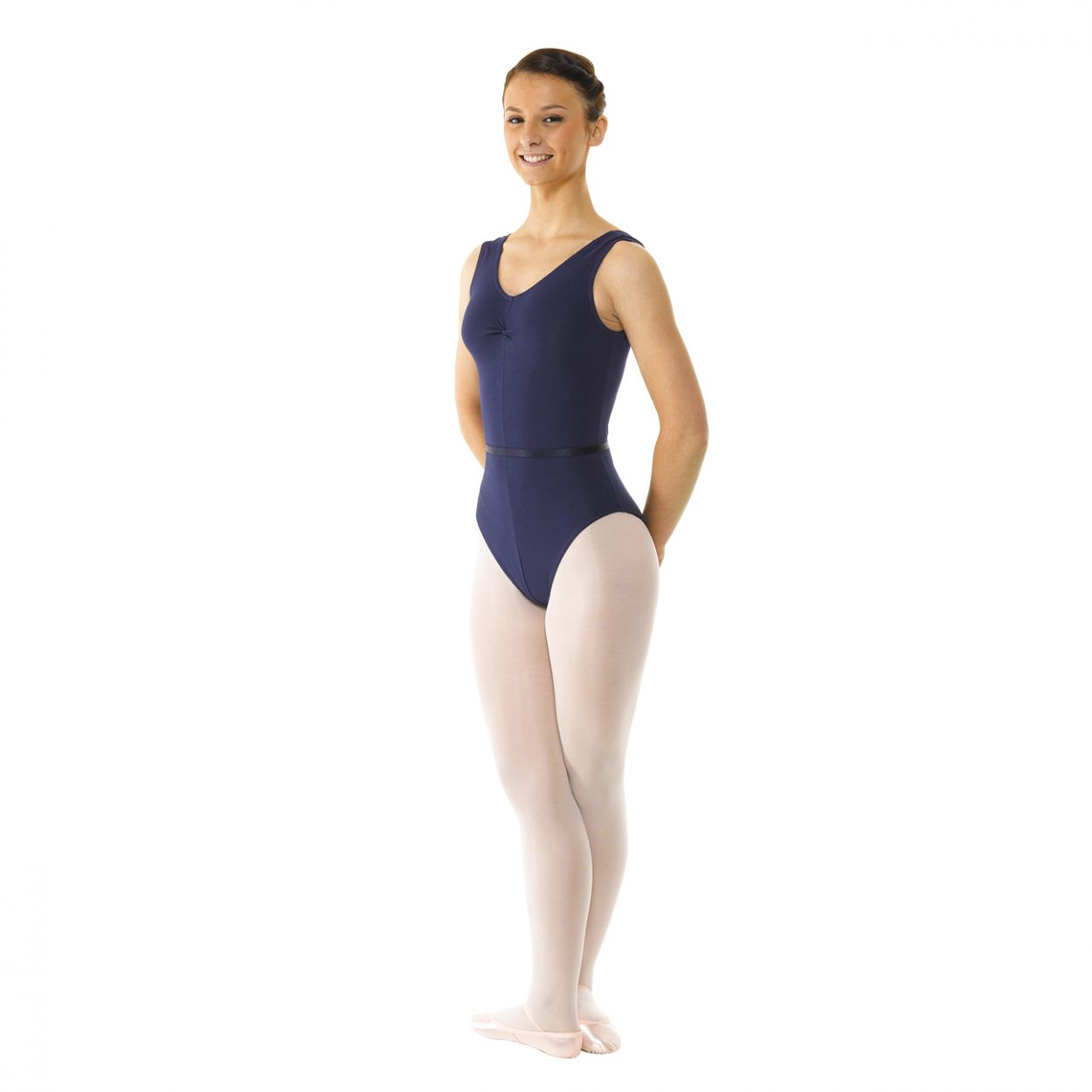 Sleeveless-Leotard-Ruched-Front-With-Belt Tappers and Pointers